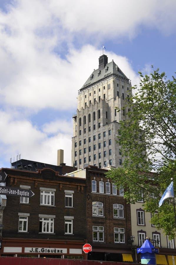 Quebec, am 29. Juni: Gebäude-Preis-Gebäude von altem Québec-Stadt in Kanada stockfotos
