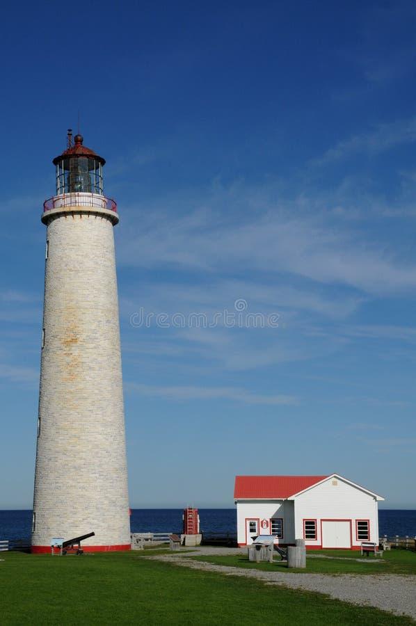 Quebec latarnia morska nakrętek les Rosiers w Gaspesie fotografia royalty free