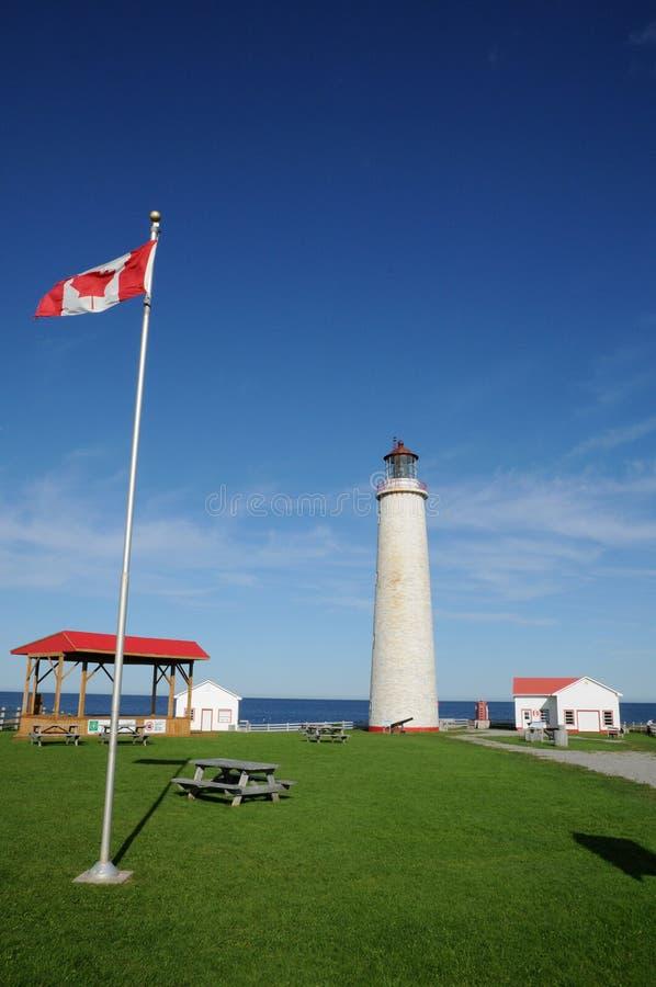 Quebec latarnia morska nakrętek les Rosiers w Gaspesie fotografia stock