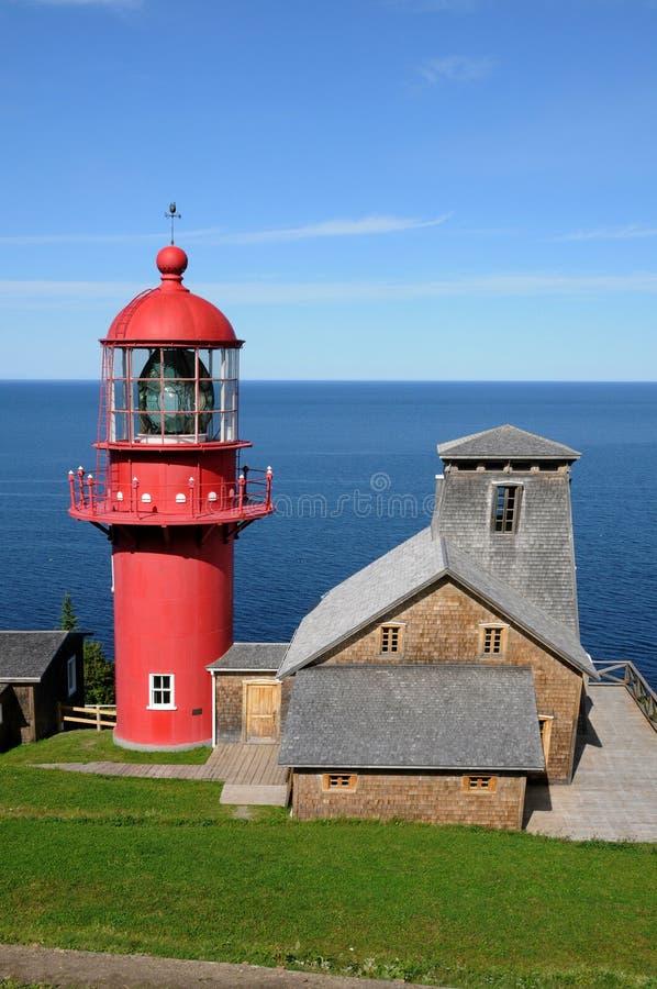 Quebec latarnia morska Pointe los angeles Renommee w Gaspesie fotografia stock