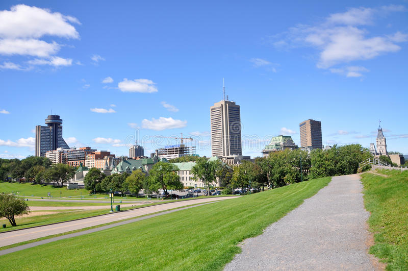 Quebec Modern City Skyline, Canada. Quebec Modern City Skyline, view from Parc des Champs-de-Bataille (Champs-de-Bataille National Battlefields Park), Quebec royalty free stock image