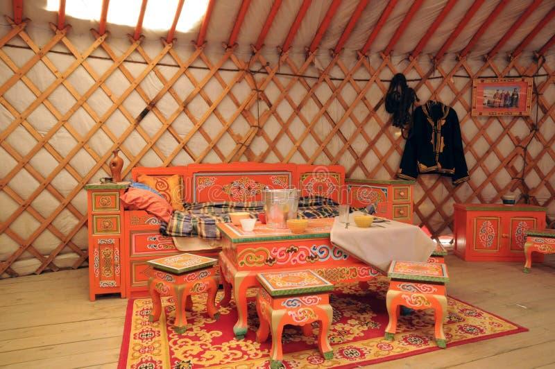 Quebec, mongolisches yurt im Heiliges Felicien-Zoo stockbild