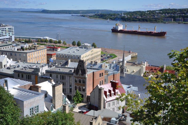 Quebec miasto i St. Lawrance rzeka obraz royalty free