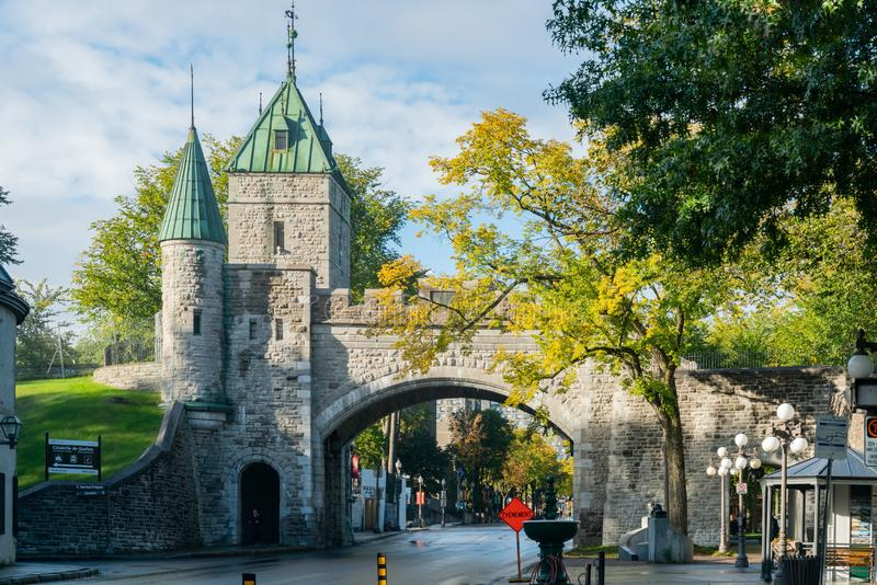 Afternoon view of the old Porte Saint-Louis wall. Quebec, OCT 3: Afternoon view of the old Porte Saint-Louis wall on OCT 3, 2018 at Quebec, Canada royalty free stock images