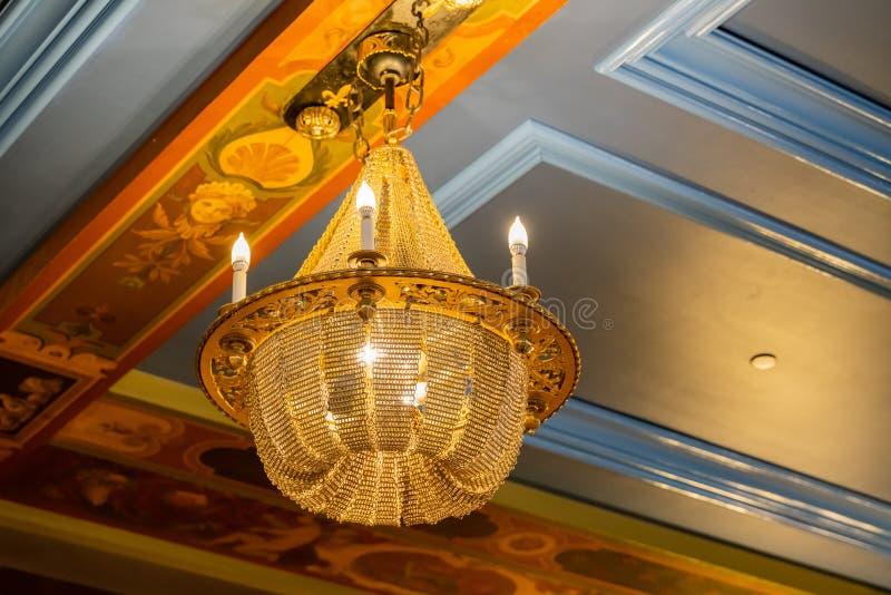 Antique lamp of the famous Fairmont Le Château Frontenac. Quebec, OCT 1: Antique lamp of the famous Fairmont Le Château Frontenac on OCT 1, 2018 at Quebec stock photos