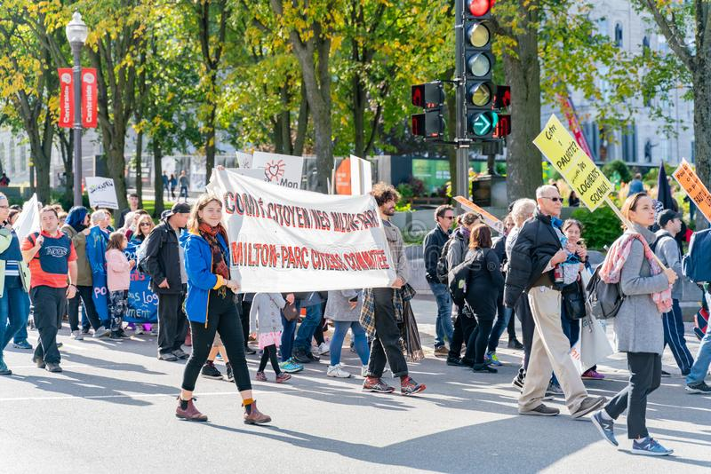 Many people marching in old Quebec. Quebec, OCT 2: Many people marching in old Quebec on OCT 2, 2018 at Quebec, Canada royalty free stock photo