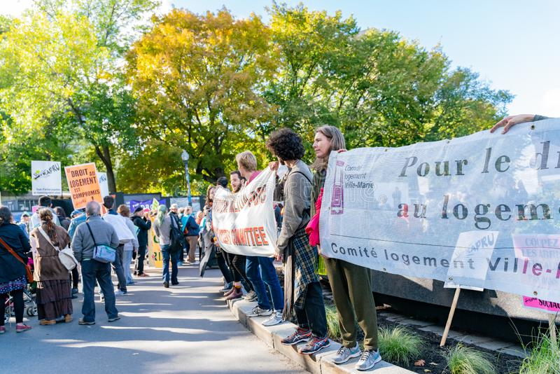Many people marching in old Quebec. Quebec, OCT 2: Many people marching in old Quebec on OCT 2, 2018 at Quebec, Canada royalty free stock photography