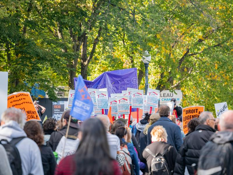 Many people marching in old Quebec. Quebec, OCT 2: Many people marching in old Quebec on OCT 2, 2018 at Quebec, Canada stock photography