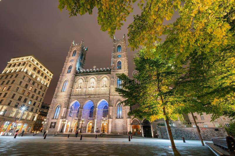 Night view of the famous Basilique Notre-dame De Montreal stock photo