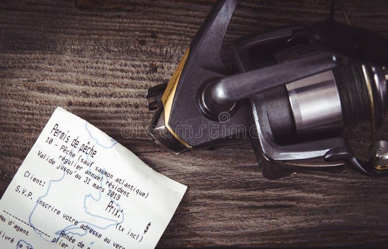 Quebec połowu licencja papier i połów linia zdjęcia stock