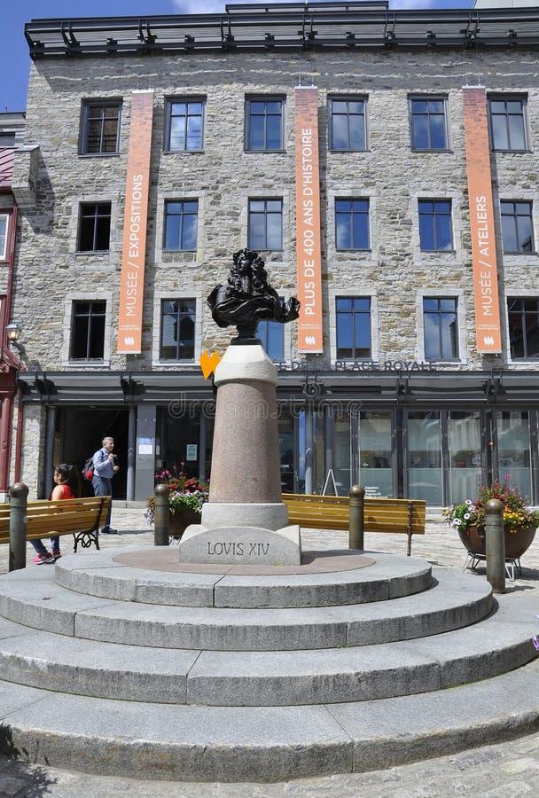Quebec, 28th Czerwiec: LouisXIV popiersie od miejsca Royale od Starego Quebec miasta w Kanada zdjęcia royalty free