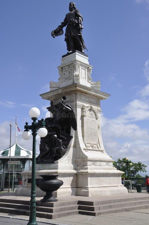 Quebec, 29th Czerwiec: Samuel De Champlain Zabytek Tarasowy Dufferin od Quebec miasta w Kanada obraz royalty free