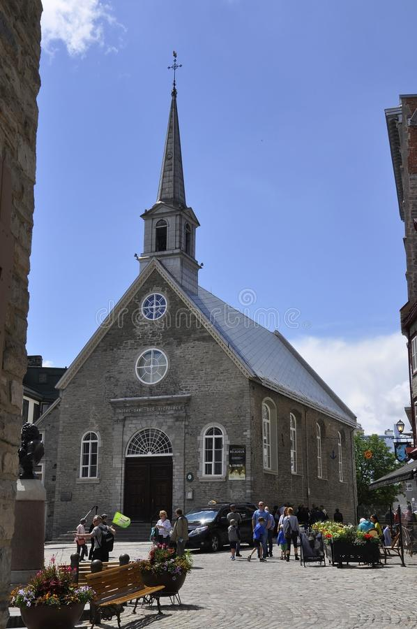 Quebec, 28th June: Church Notre Dame des Victoires from Place Royale of Old Quebec City in Canada stock photography