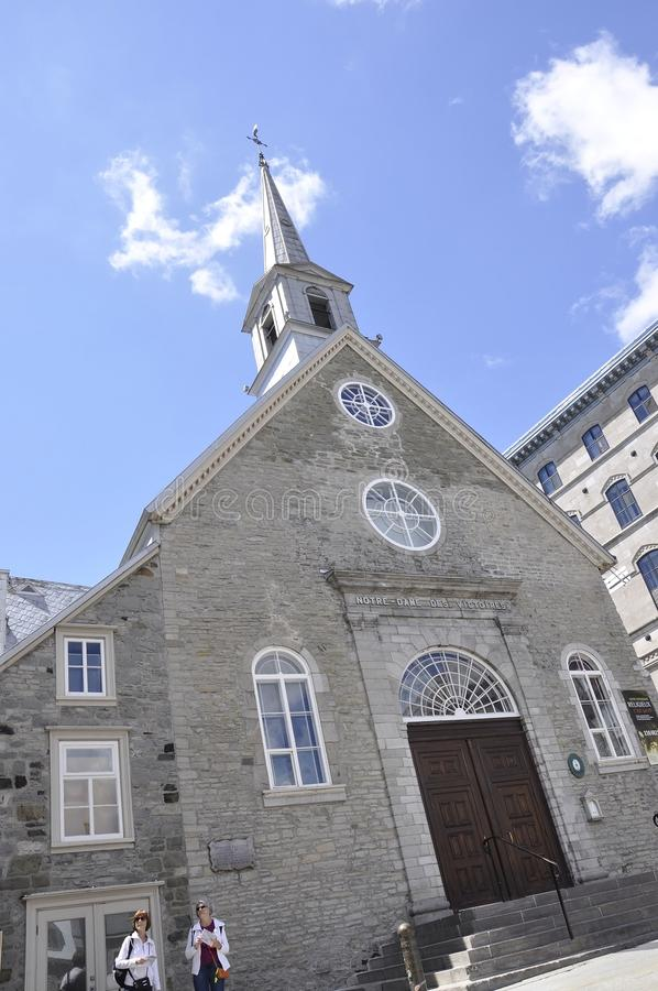 Quebec, 28th June: Church Notre Dame des Victoires from Place Royale of Old Quebec City in Canada. Ancient Church Notre Dame des Victoires from Place Royale of stock images