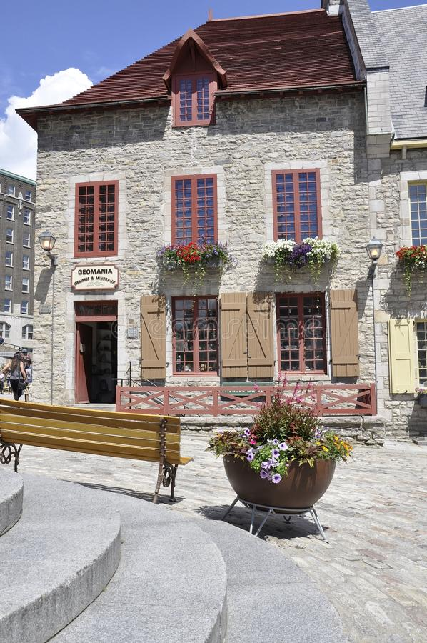 Quebec, 28th June: Historic House from Place Royale of Old Quebec City in Canada. Historic House from Place Royale of Old Quebec City in Canada on 28th june 2017 stock photo