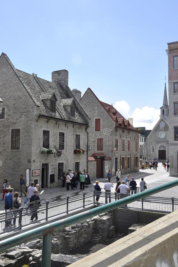 Quebec, 28th June: Ruins and Historic Buildings from Rue Notre Dame of Old Quebec City in Canada royalty free stock photos
