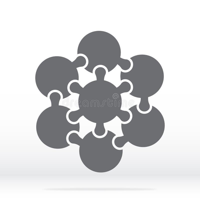 Quebra-cabeça de ícone simples em cinza Quebra-cabeças de ícones simples dos seis círculos e elementos centrais sobre fundo trans ilustração royalty free