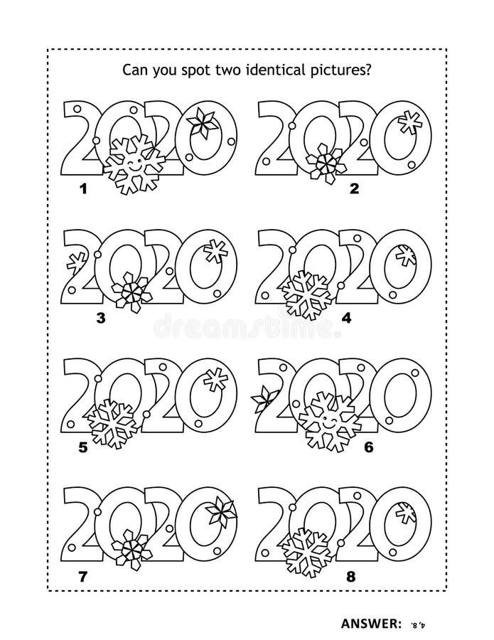 Quebra-cabeça lógica visual e página de coloração com títulos do ano 2020 ilustração stock