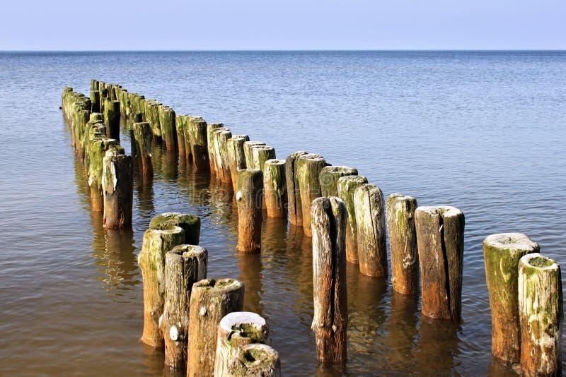 Quebra-mar alemão velho na costa de mar Báltico fotografia de stock royalty free