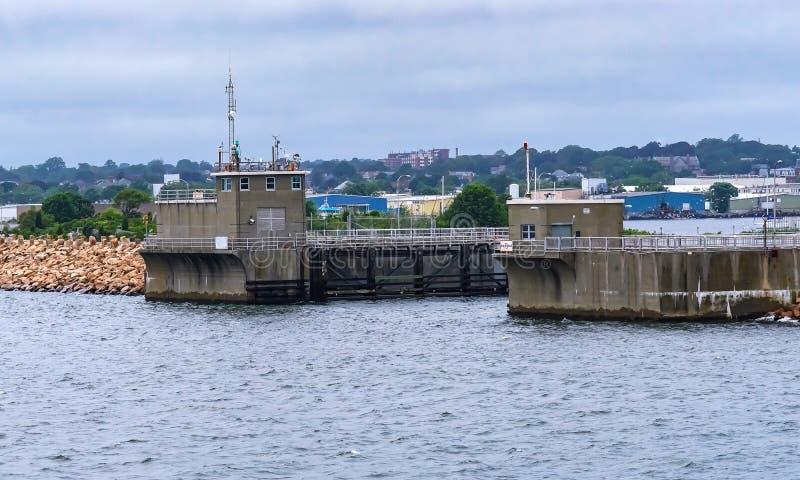 Quebra-mar Bedford Harbor Buzzards Bay Massachusett novo da entrada foto de stock