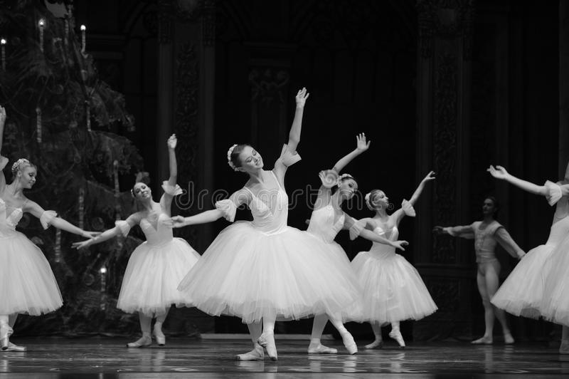 A quebra-nozes branca do bailado da fada- da neve fotografia de stock royalty free