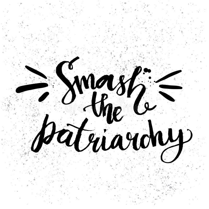 Quebra o patriarcado Citações do feminismo escritas à mão ilustração royalty free