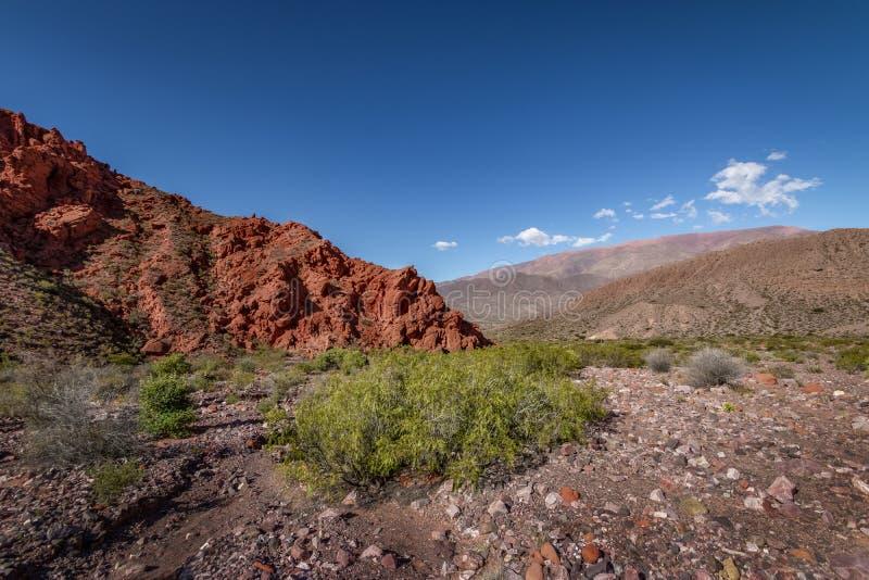 Quebrada DE las Senoritas desertic vallei in Uquia-Dorp in Quebrada DE Humahuaca - Uquia, Jujuy, Argentinië royalty-vrije stock afbeelding
