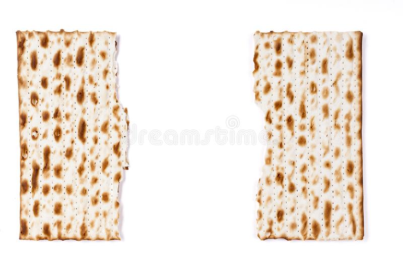 Quebrado no meio Matzah fotografia de stock