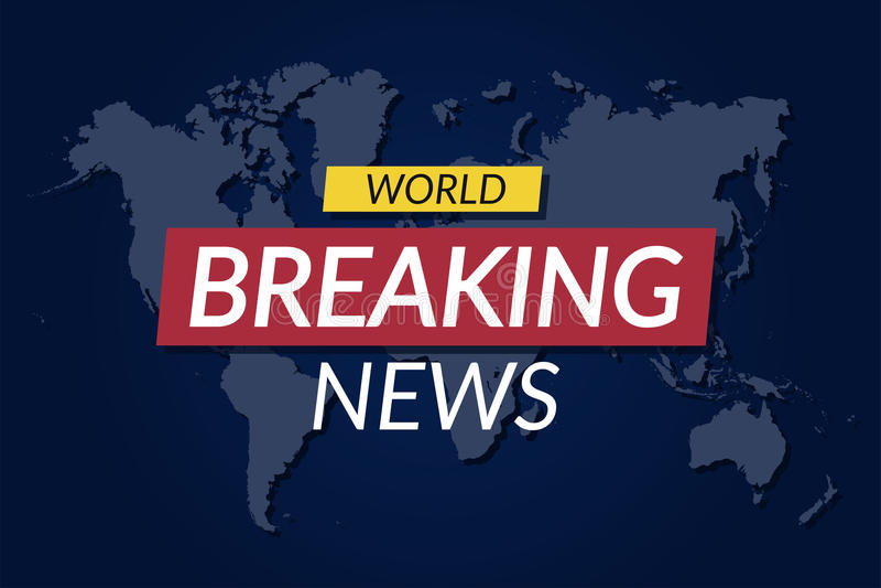 Quebrando o fundo novo Bandeira das notícias do mundo no fundo do mapa do mundo ilustração do vetor