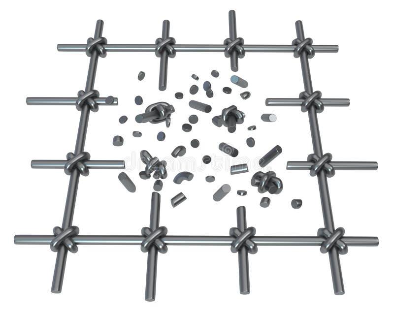 Quebrar barras de metal isolou-se ilustração do vetor