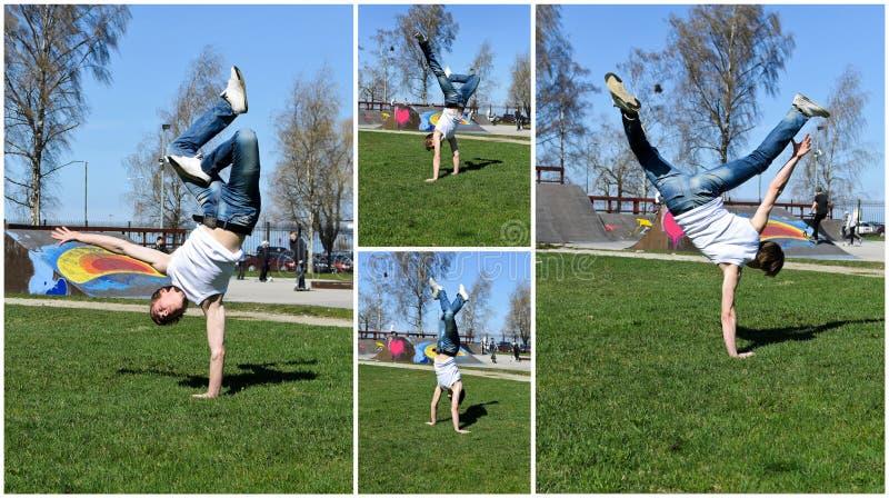Quebrar-dançarino que mostra suas habilidades. imagens de stock