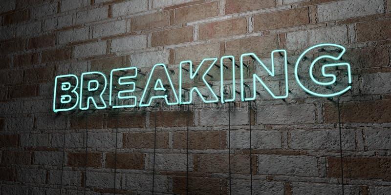 QUEBRAR - Sinal de néon de incandescência na parede da alvenaria - 3D rendeu a ilustração conservada em estoque livre dos direito ilustração royalty free