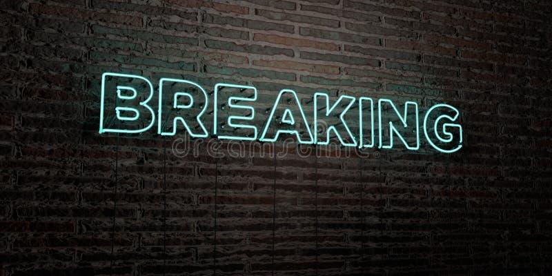 QUEBRAR - sinal de néon realístico no fundo da parede de tijolo - 3D rendeu a imagem conservada em estoque livre dos direitos ilustração do vetor