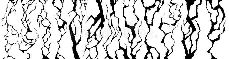 Quebras da parede As fendas racham, racharam o grupo danificado do vetor da textura do craquelure da superfície e da fratura ilustração royalty free