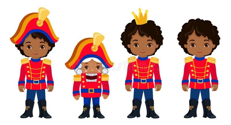 Quebras-nozes afro-americanos bonitos do Natal da coleção ilustração royalty free
