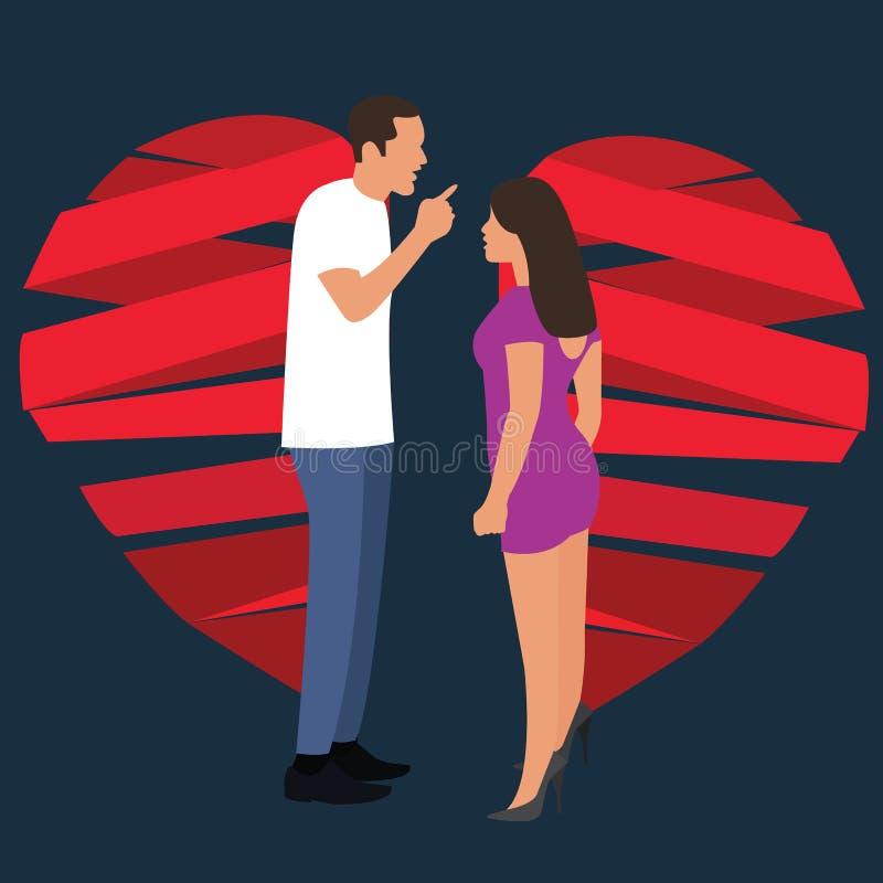 Quebre acima o símbolo da luta da mulher do homem dos pares do coração quebrado do relacionamento ilustração do vetor