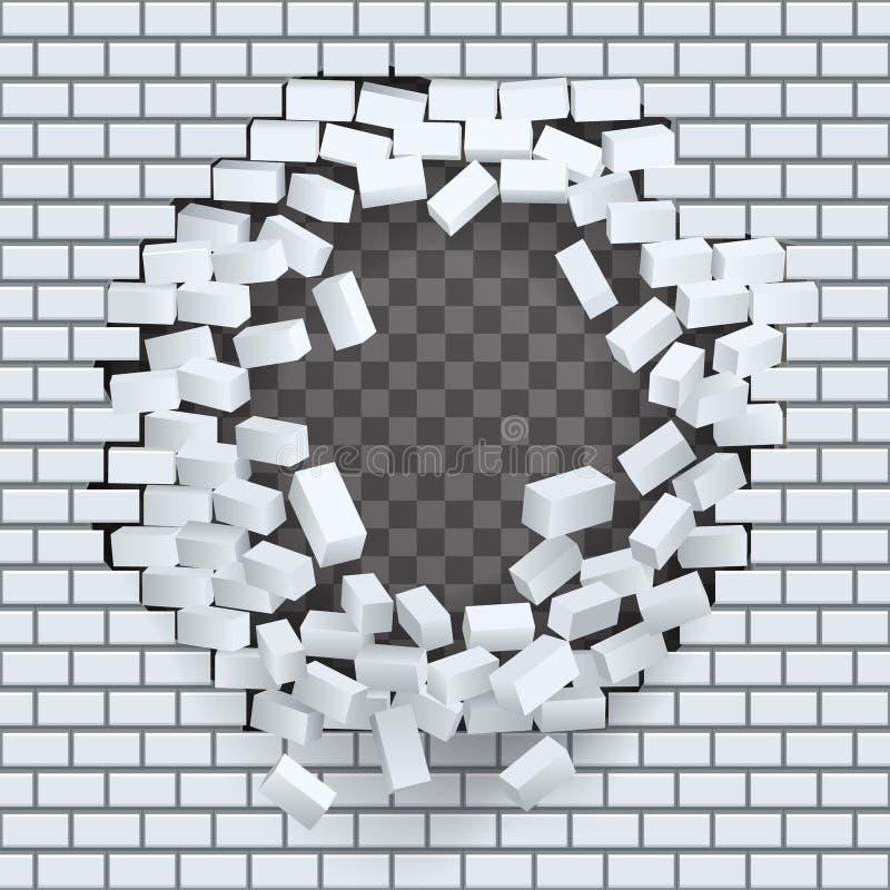 Quebre o furo na ilustração transparente do vetor do fundo do molde da destruição da parede de tijolo ilustração stock