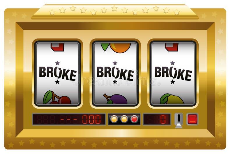 Quebrou o ouro do slot machine ilustração do vetor