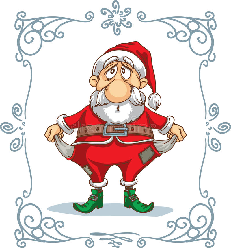 Quebrou Santa Cartoon ilustração royalty free