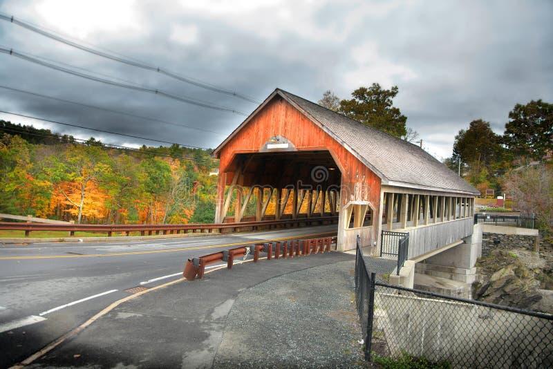 Quechee covered bridge near Woodstock Vermont stock photo