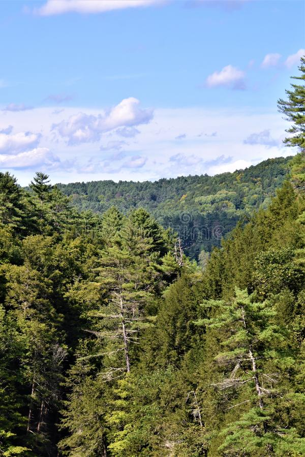 Quechee Gorge, Quechee Village, Town of Hartford, Windsor County, Vermont, United States. Scenic view of mountains from Quechee Gorge Bridge, Quechee Village, in royalty free stock photos