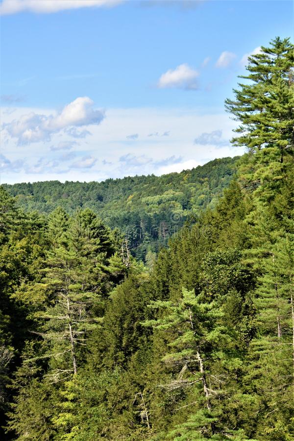 Quechee wąwóz, Quechee wioska, miasteczko Hartford, Windsor okręg administracyjny, Vermont, Stany Zjednoczone zdjęcie royalty free