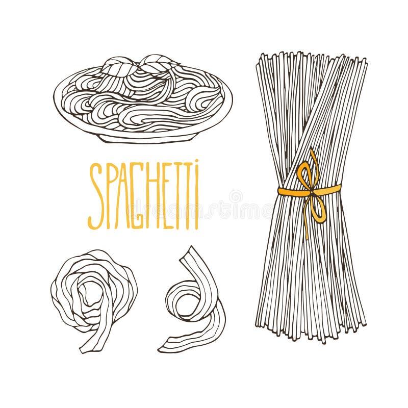 Queches de los espaguetis Pastas dibujadas mano del vintage Comida italiana aislada para el diseño del menú Sistema del bosquejo  ilustración del vector