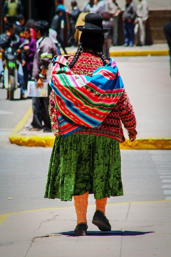 Quechua Indian native local woman near Puno, Peru, South America stock photo