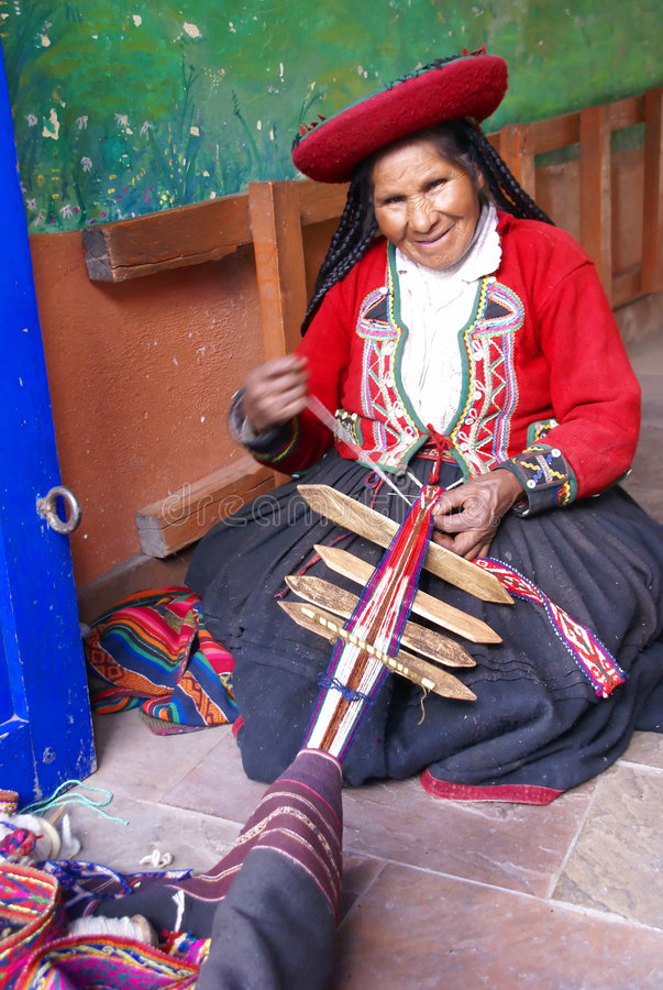 Quechua Indian woman weaving