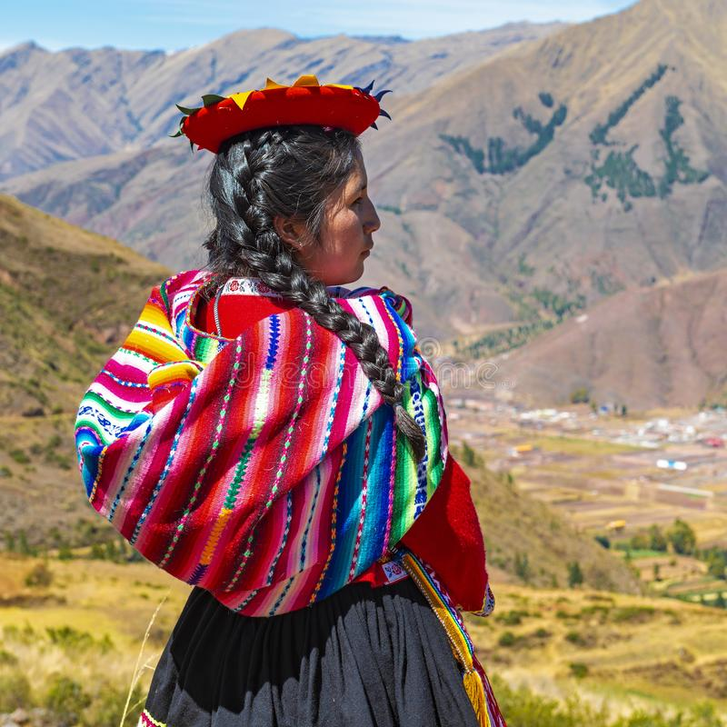 Quechua Indigenous Woman, Cusco, Peru stock image