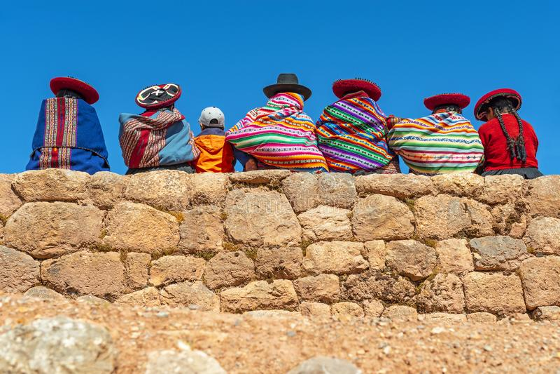 Quechua Inheemse Vrouwen, Chinchero, Peru stock foto