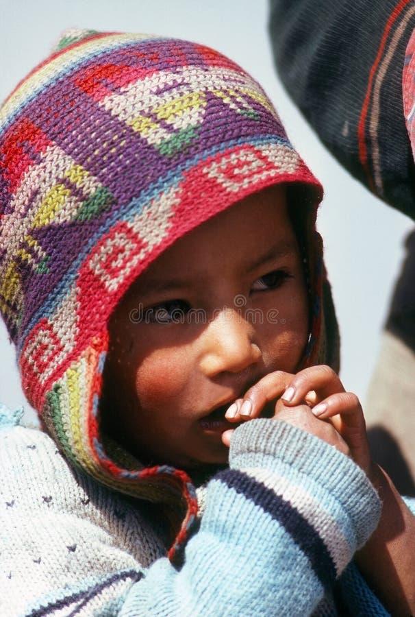 Quechua jongen, Cuzco stock foto's