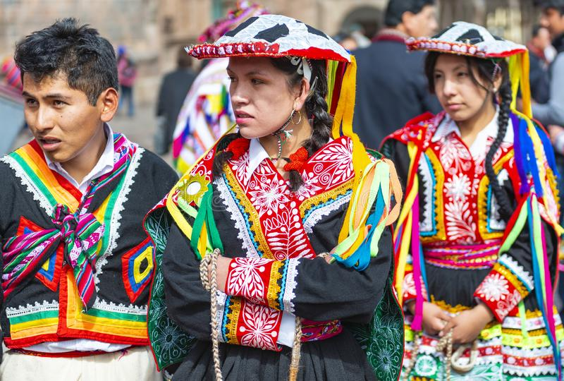 Quechua Miejscowy w Tradycyjnej odzieży, Cusco obrazy stock