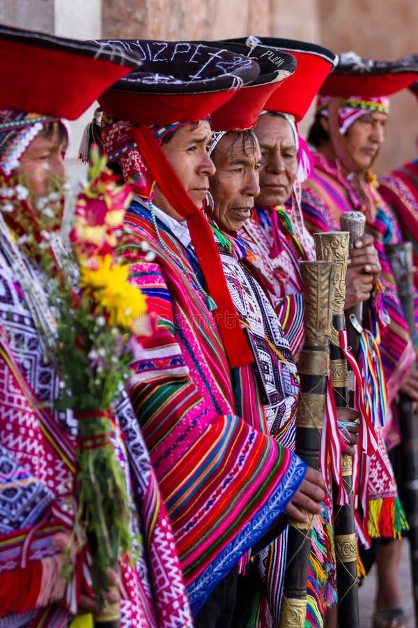 Quechua Oudsten in de Heilige Vallei stock afbeelding